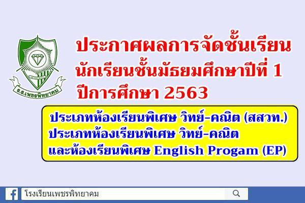 ประกาศผลการจัดชั้นเรียนนักเรียนชั้นมัธยมศึกษาปีที่ 1 ปีการศึกษา 2563 ประเภทห้องเรียนพิเศษ วิทย์-คณิต (สสวท.), วิทย์-คณิต และห้องเรียนพิเศษ English Progam (EP)