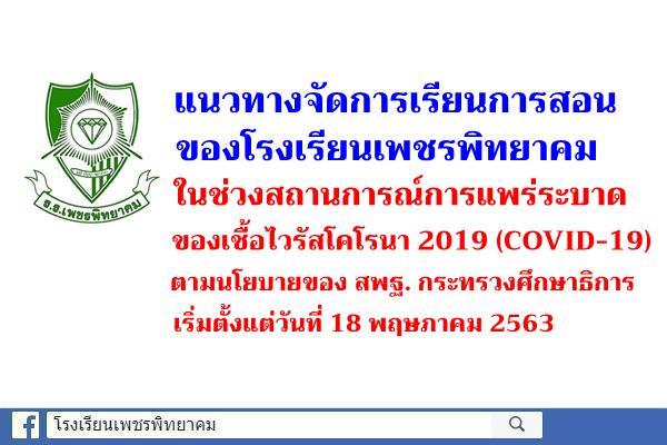 แนวทางจัดการเรียนการสอนของโรงเรียนเพชรพิทยาคมในช่วงสถานการณ์การแพร่ระบาดของเชื้อไวรัสโคโรนา 2019 (COVID-19)