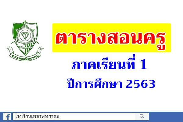 ตารางสอนครู ภาคเรียนที่ 1 ปีการศึกษา 2563