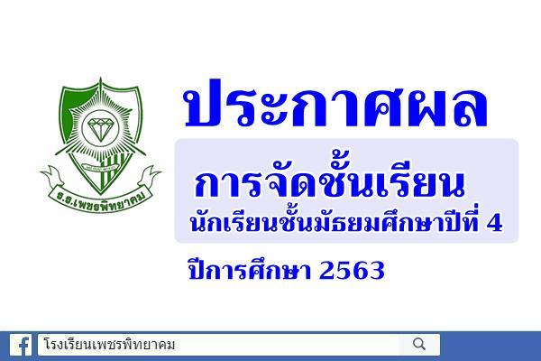 ประกาศผลการจัดชั้นเรียนนักเรียนชั้นมัธยมศึกษาปีที่ 4 ปีการศึกษา 2563