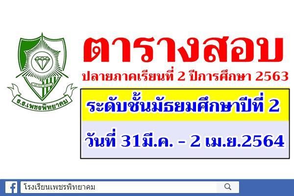 ตารางสอบปลายภาคเรียนที่ 2 ปีการศึกษา 2563 ระดับชั้นมัธยมศึกษาปีที่ 2
