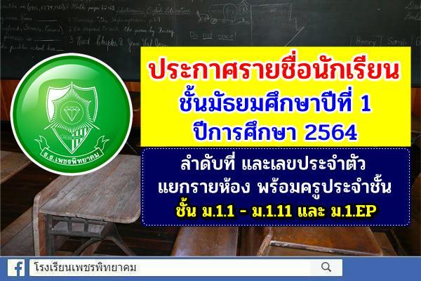 ประกาศรายชื่อนักเรียนชั้นมัธยมศึกษาปีที่ 1 ปีการศึกษา 2564 โรงเรียนเพชรพิทยาคม อำเภอเมือง จังหวัดเพชรบูรณ์