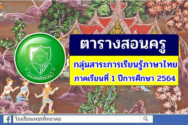 ตารางสอนครู กลุ่มสาระการเรียนรู้ภาษาไทย ภาคเรียนที่ 1 ปีการศึกษา 2564