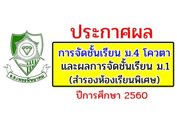 ประกาศผลการจัดชั้นเรียน ม.4 โควตา และผลการจัดชั้นเรียน ม.1 (สำรองห้องเรียนพิเศษ) ปี 2560