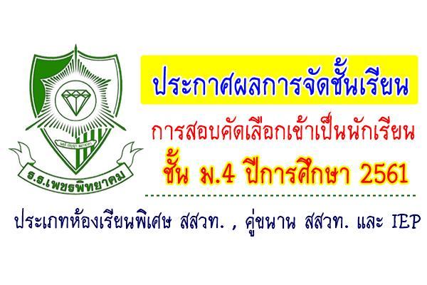 ประกาศผลการจัดชั้นเรียนการสอบคัดเลือกเข้าเป็นนักเรียนหัองเรียนพิเศษ ชั้น ม.4 ปีการศึกษา 2561