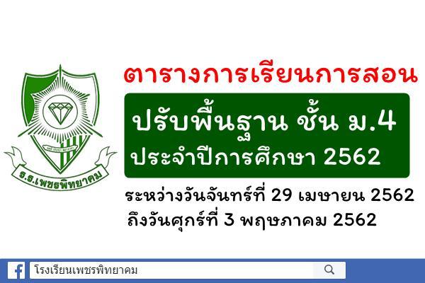 การจัดการเรียนการสอนปรับพื้นฐานนักเรียนชั้นมัธยมศึกษาปีที่ 4 ประจำปีการศึกษา 2562 ระหว่างวันที่ 29 เมษายน - 3 พฤษภาคม 2562