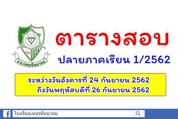ตารางสอบวัดผลปลายภาคเรียน ประจาภาคเรียนที่ 1 ปีการศึกษา 2562